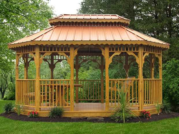 A Sealed Oblong gazebo with a copper roof in a beautiful setting